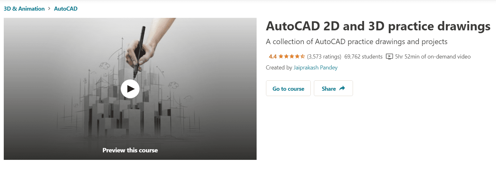 Udemy AutoCAD 2D and 3D Practice Drawings Free Course | Free Udemy Course
