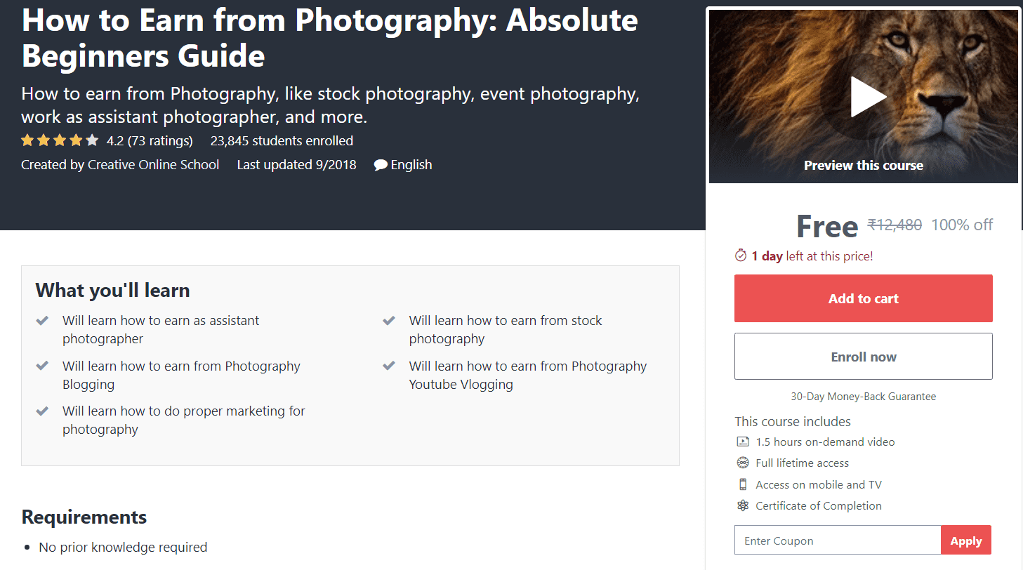 Free Udemy Photography Course | Free Online Course