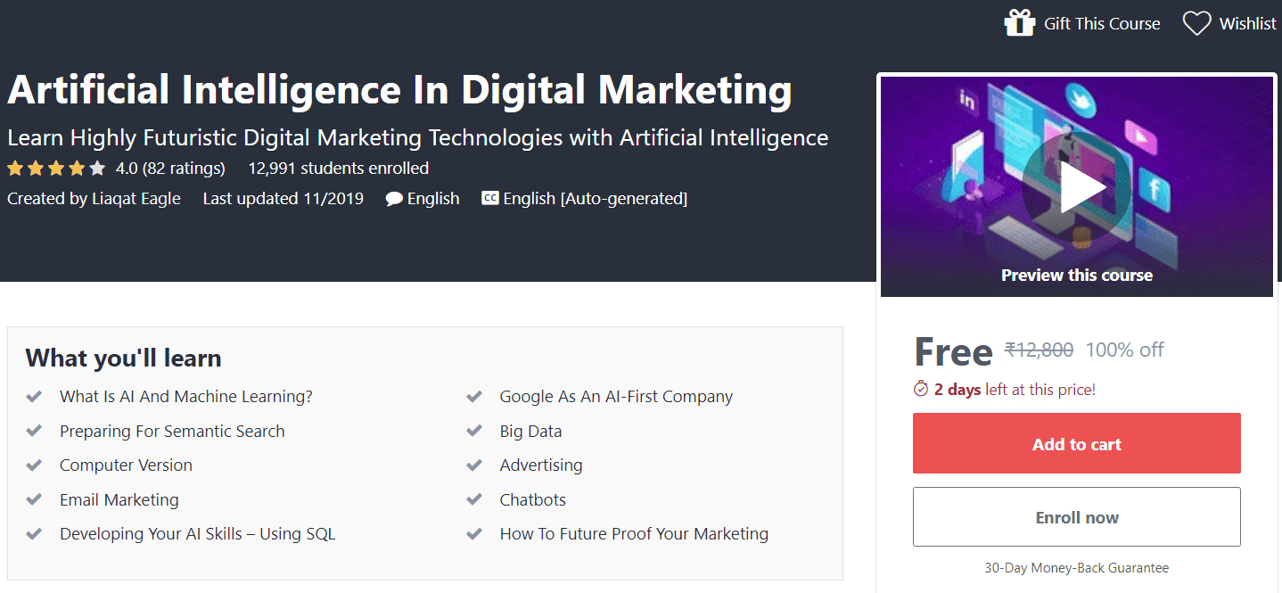 Artificial Intelligence In Digital Marketing Course Free | Free Udemy Course | Online Courses Free