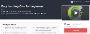 Easy learning C++ for beginners Udemy Course Free   Free Udemy Course   Massive Online Course