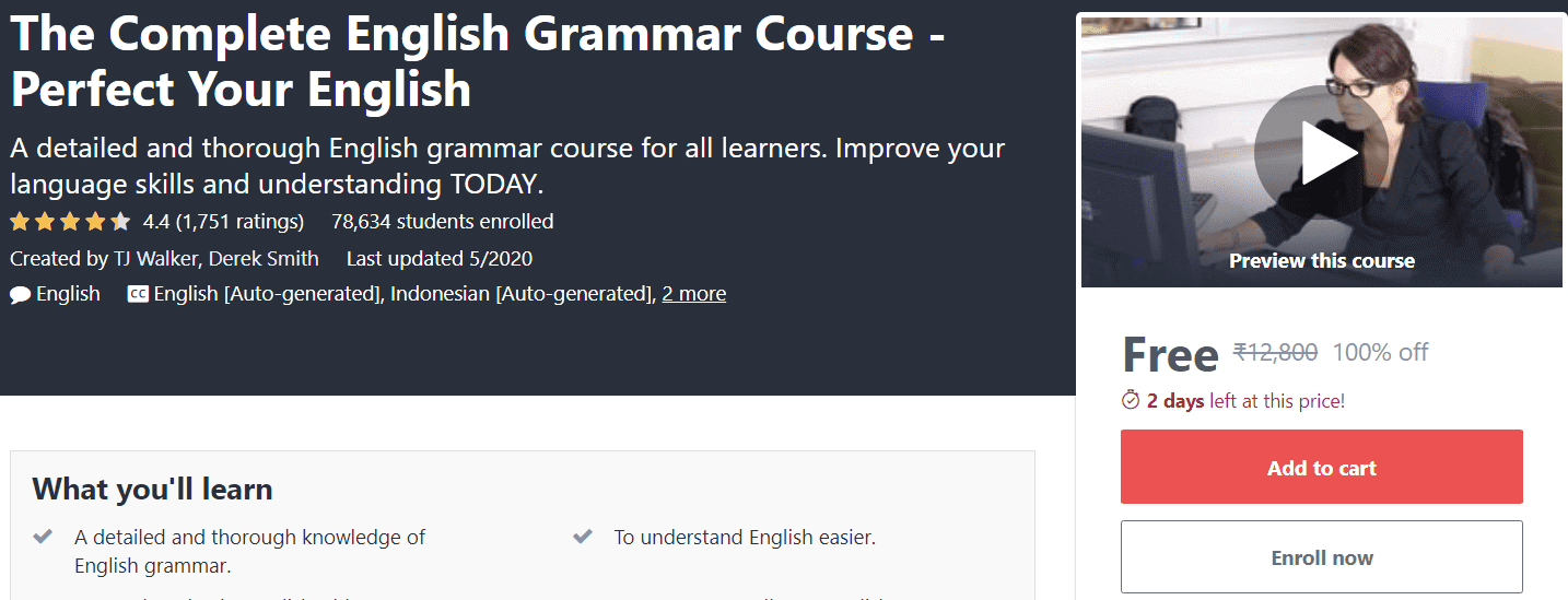 The Complete English Grammar Course Perfect Your English | Massive Online Course | Free Online Course