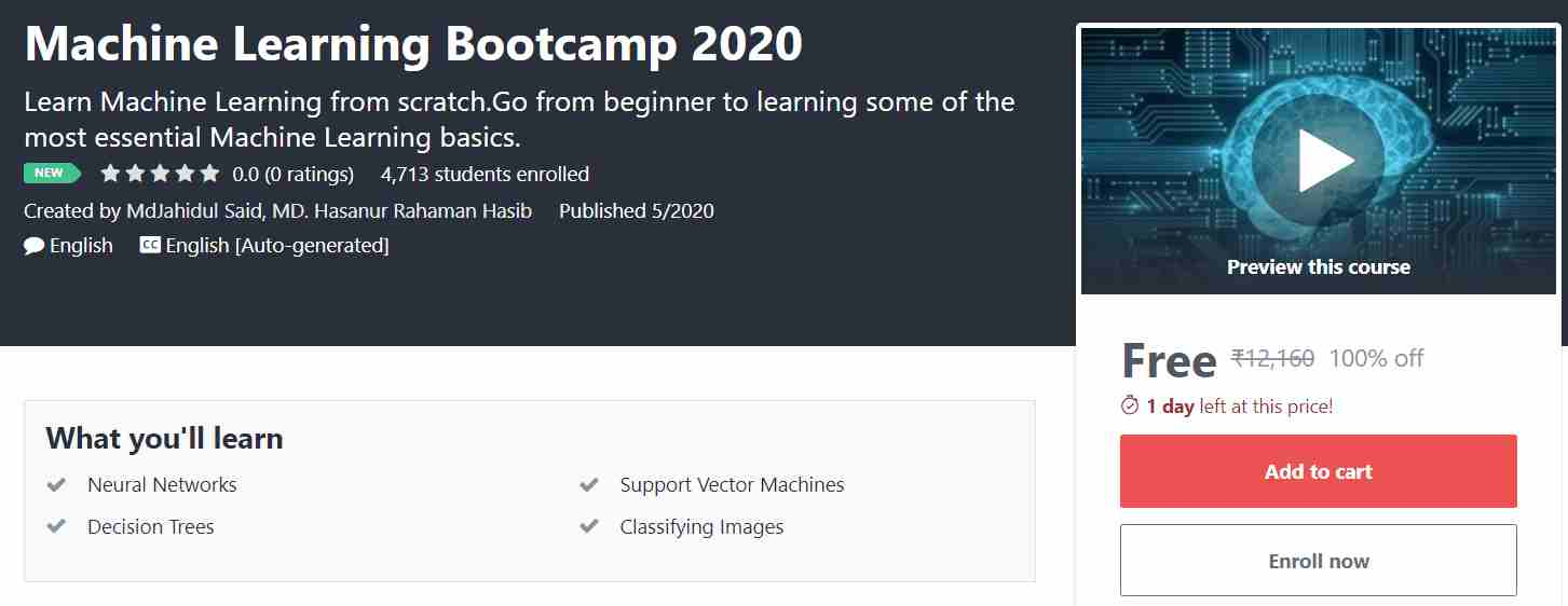 Machine Learning Bootcamp 2020 | Free Online Course