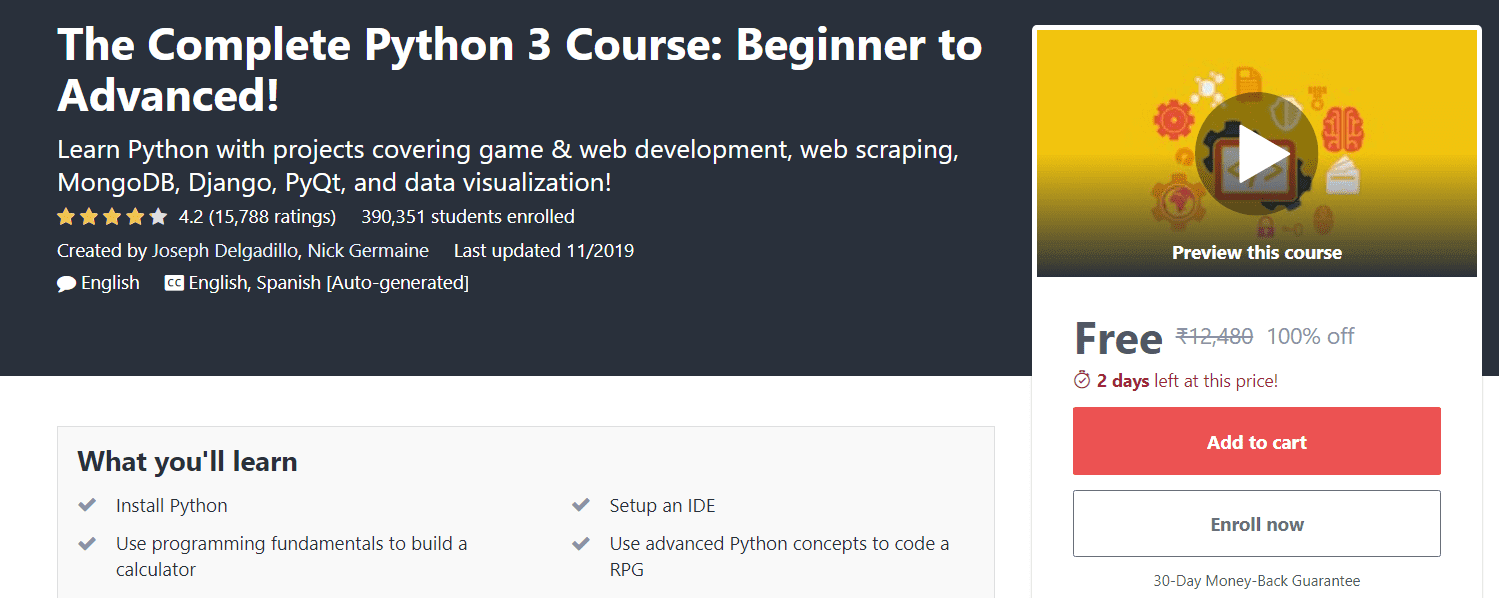 The Complete Python 3 Course Beginner to Advanced | Free Udemy Course | Massive Online Course