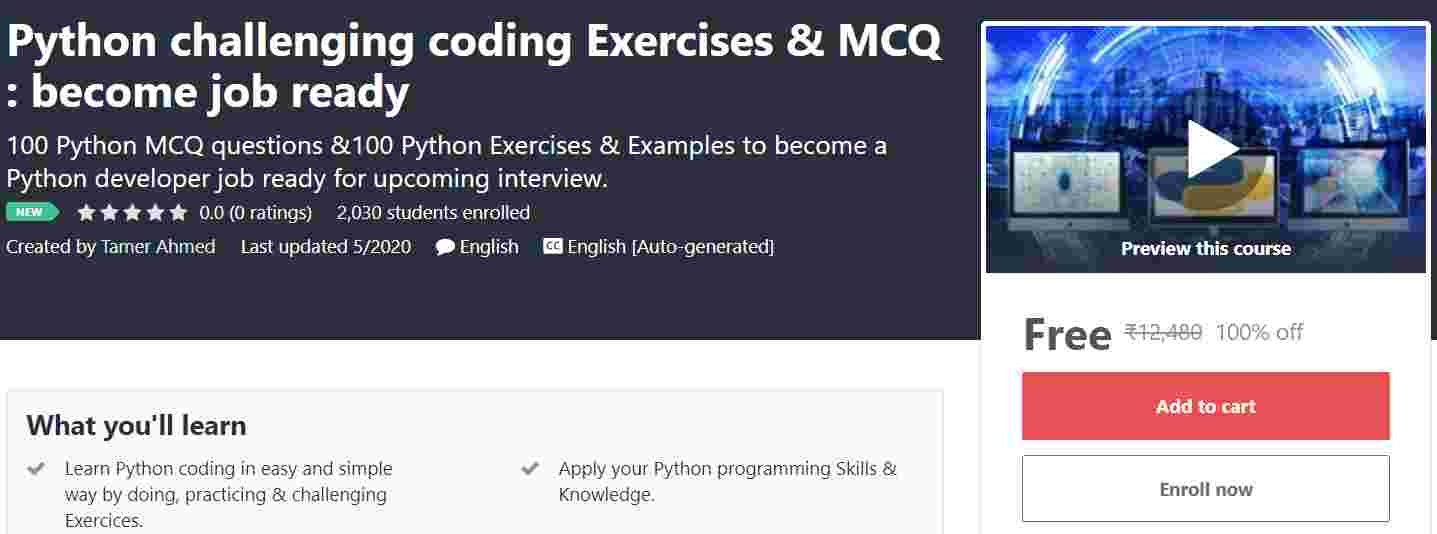 Python Challenging Coding Exercises & MCQ Become Job Ready | Free Udemy Course