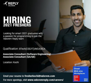 Valorem Reply Recruitment 2021: Associate Consultnant (Software Engineering, QA/QE) | Freshers | B.Tech / MCA / BCA