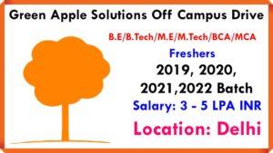 Green Apple Solutions Off Campus Drive For 2019, 2020, 2021,2022 Batch | Associate Software Engineer | B.E/B.Tech/M.E/M.Tech/BCA/MCA | Freshers | 3 to 5 LPA